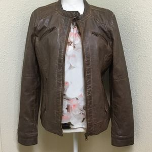 Signature Studio Faux Brown Leather Jacket